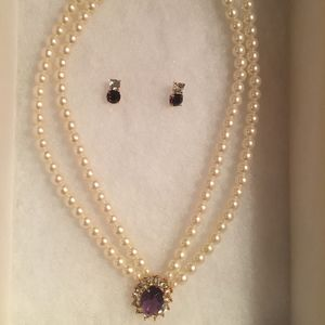 Jewelry - Pearl and Amethyst Necklace & Earring Fashion Set